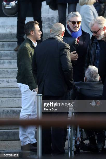 Antoine De Caunes and Jose Garcia attend the funerals of Philippe Gildas at Cimetierre du Pere Lachaise on November 5 2018 in Paris France