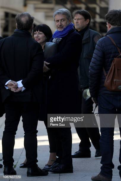 Antoine De Caunes Philippe Gildas at Cimetierre du Pere Lachaise on November 5 2018 in Paris France