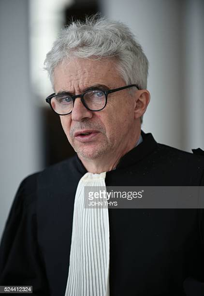 Antoine Deltour's lawyer William Bourdon looks on at the courthouse in Luxembourg on April 26 2016 before a trial over the socalled LuxLeaks scandal...