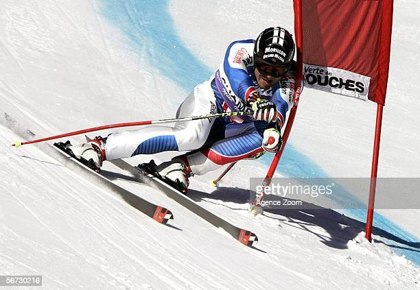 Antoine Deneriaz of France practices during a training run of FIS Alpine Skiing World Cup Men's Downhill on February 2 2006 in Chamonix France