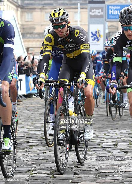 Antoine Duchesne of Canada and Direct Energie at chateau de Compiegne during the start of the 2016 Paris - Roubaix cycle race on April 10, 2016 in...
