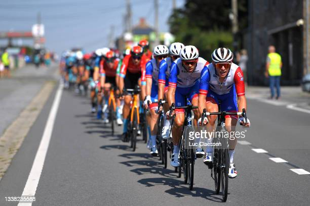 Antoine Duchesne of Canada and Fabian Lienhard of Switzerland and Team Groupama - FDJ lead the peloton during the 17th Benelux Tour 2021, Stage 6 a...