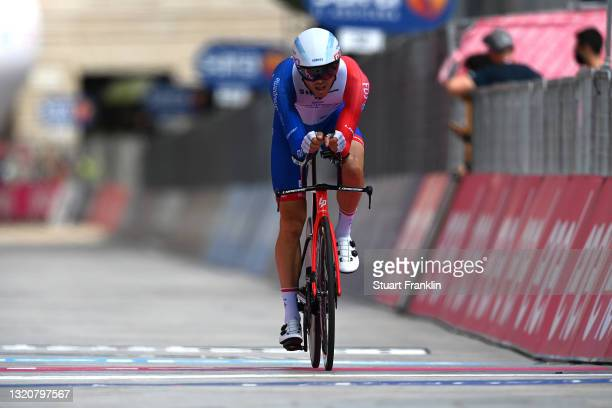 Antoine Duchesne of Canada and Team Groupama - FDJ at arrival during the 104th Giro d'Italia 2021, Stage 21 a 30,3km Individual Time Trial stage from...