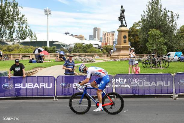 Antoine Duchesne of Team FDJ was chasing the break away group during Stage six Be Safe Be Seen MAC at the Santos Tour Down Under on January 21, 2018...