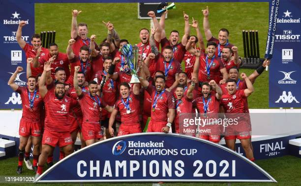 Antoine Dupont and Jerome Kaino of Toulouse lifts the Heineken Champions Cup during the Heineken Champions Cup Final between La Rochelle and Toulouse...