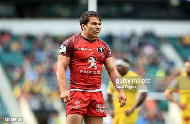 Antoine Dupont of Toulouse looks on during the Heineken Champions Cup Final match between La Rochelle and Toulouse at Twickenham Stadium on May 22,...