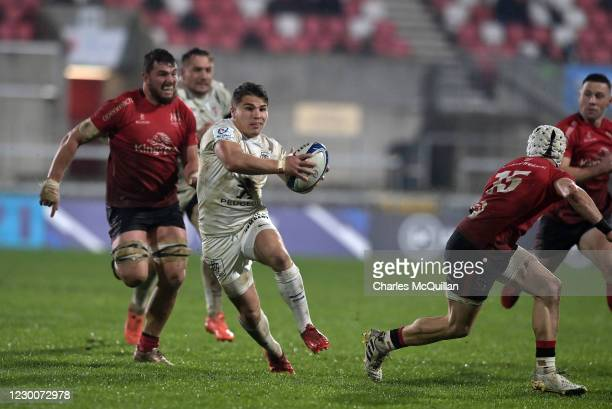 Antoine Dupont of Toulouse scores a try during the Heineken Cup Pool B game between Ulster and Toulouse at Kingspan Stadium on December 11, 2020 in...