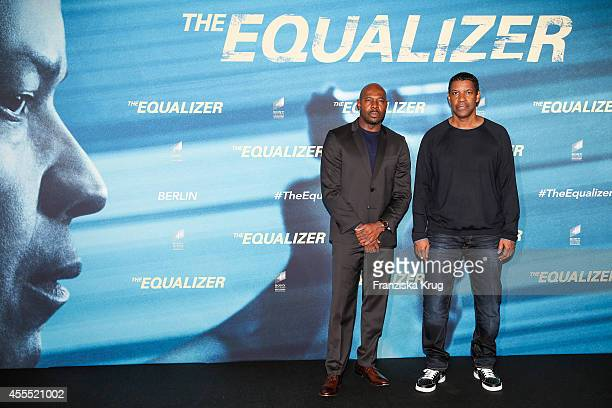 Antoine Fuqua and Denzel Washington attend the 'The Equalizer' Photocall at the Adlon on September 16 2014 in Berlin Germany