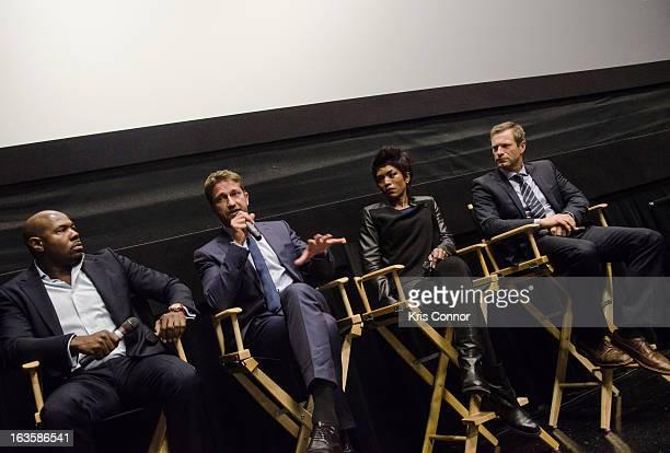 Antoine Fuqua Gerard Butler Angela Bassett and Aaron Eckhart speak during the 'Olympus Has Fallen' screening at AMC Loews Georgetown 14 on March 12...