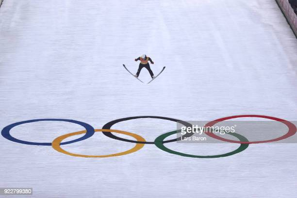 Antoine Gerard of France competes during the Nordic Combined Team Gundersen LH/4x5km, Ski Jumping Trial Round on day thirteen of the PyeongChang 2018...