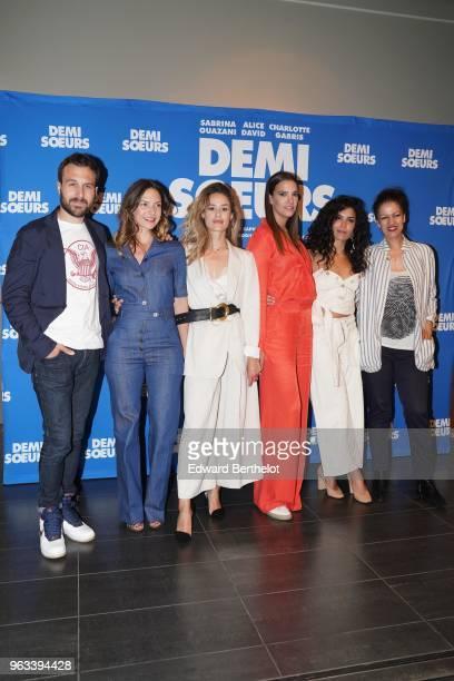 Antoine Gouy Luana Duchemin Alice David Charlotte Gabris Sabrina Ouazzani attend the 'Demi Soeurs' Paris Premiere photocall at Mk2 Bibliotheque on...