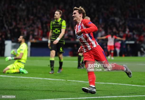 Antoine Greizmann of Atletico de Madrid celebrates after scoring his team's second goal during the UEFA Europa League quarter final leg one match...