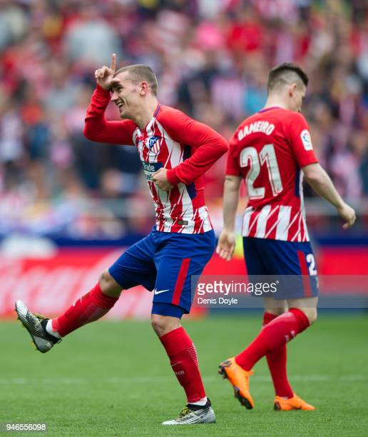 Antoine Greizmann of Atletico de Madrid celebrates after scoring his team's second goal during the La Liga match between Atletico Madrid and Levante...