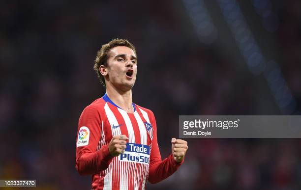 Antoine Greizmann of Club Atletico de Madrid celebrates after scoring his teams second goal during the La Liga match between Club Atletico de Madrid...