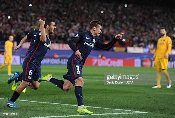 Antoine Greizmann of Club Atletico de Madrid celebrates scoring his team's 2nd goal during the UEFA Champions League Quarter Final Second Leg match...
