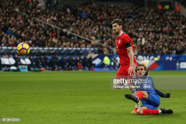 Antoine Greizmann of France scores a goal to make it 10 during the International Friendly fixture between France and Wales at Stade de France on...