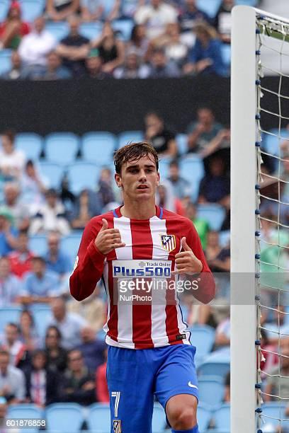 Antoine Griezman celebrates a goal during the Spanish league football match Real Club Celta de Vigo vs Club Atlético de Madrid at estadio Municipal...