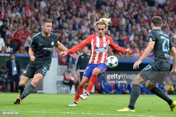Antoine Griezmann #7 of Atletico de Madrid during the UEFA Champions League group C match between Club Atletico de Madrid and Chelsea FC at Wanda...