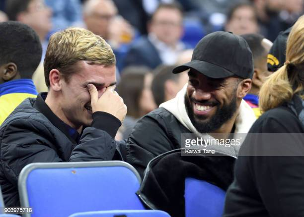 Antoine Griezmann and Alexandre Lacazette attend the Philadelphia 76ers and Boston Celtics NBA London game at The O2 Arena on January 11 2018 in...