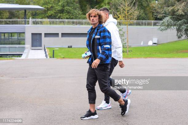 Antoine GRIEZMANN and Clement LENGLET of France arrive at Centre National du Football on October 7 2019 in Clairefontaine France