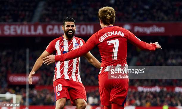 Antoine Griezmann and Diego Costa of Atletico Madrid celebrates after his teammate Jorge Resurreccion 'Koke' scoring his team's fourth goal during...