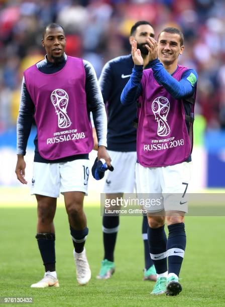Antoine Griezmann and Djibril Sidibe of France acknowledge the fans during the 2018 FIFA World Cup Russia group C match between France and Australia...