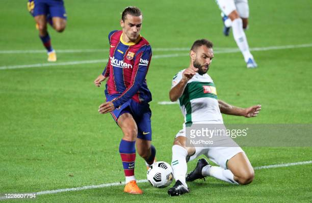 Antoine Griezmann and Gonzalo Verdu during the Joan Gamper Trophy match between FC Barcelona and Elche CF played at the Camp Nou Stadium on 19th...