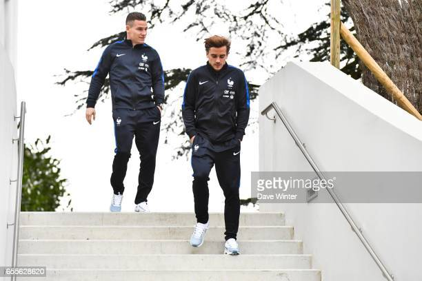 Antoine Griezmann and Kevin Gameiro of France during press conference of the soccer french national team at Centre National du Football on March 20...
