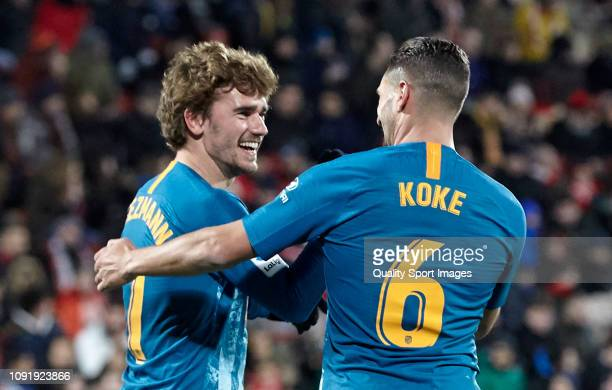 Antoine Griezmann and Koke of Atletico de Madrid celebrate a goal during the Copa del Rey Round of 16 match between Girona FC and Atletico de Madrid...