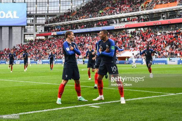 Antoine Griezmann and Kylian Mbappe of France celebrate a goal during the FIFA World Cup match Group C match between France and Peru at Ekaterinburg...