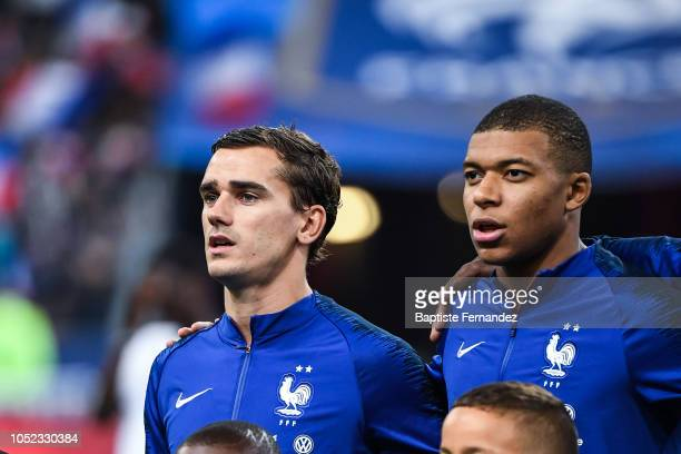 Antoine Griezmann and Kylian Mbappe of France during the UEFA Nations League A group one match between France and Germany at Stade de France on...