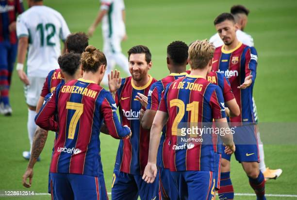 Antoine Griezmann and Leo Messi goal celebration during the Joan Gamper Trophy match between FC Barcelona and Elche CF played at the Camp Nou Stadium...