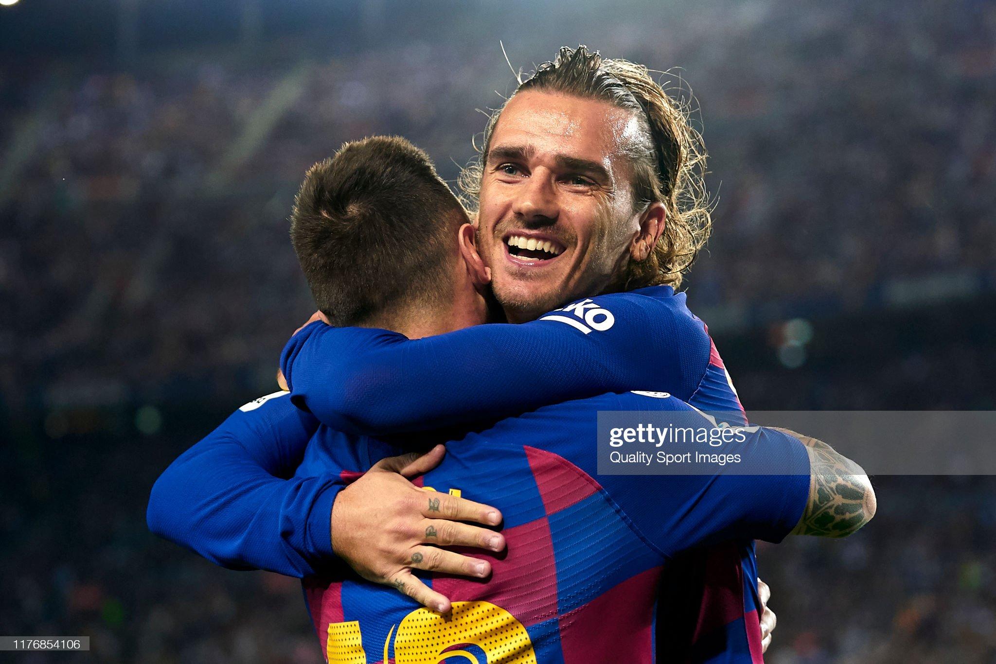 صور مباراة : برشلونة - فياريال 2-1 ( 24-09-2019 )  Antoine-griezmann-and-lionel-messi-of-fc-barcelona-celebrating-their-picture-id1176854106?s=2048x2048