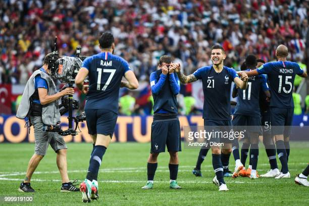 Antoine Griezmann and Lucas Hernandez of France celebrate during the World Cup Final match between France and Croatia at Luzhniki Stadium on July 15...