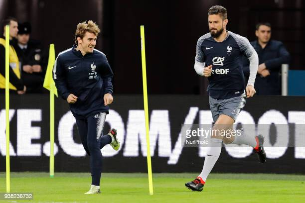 Antoine Griezmann and Olivier Giroud during France national team training session ahead of international friendly football match against Russia on...