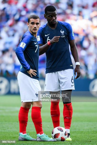 Antoine Griezmann and Paul Pogba of France during the FIFA World Cup Round of 16 match between France and Argentina at Kazan Arena on June 30 2018 in...
