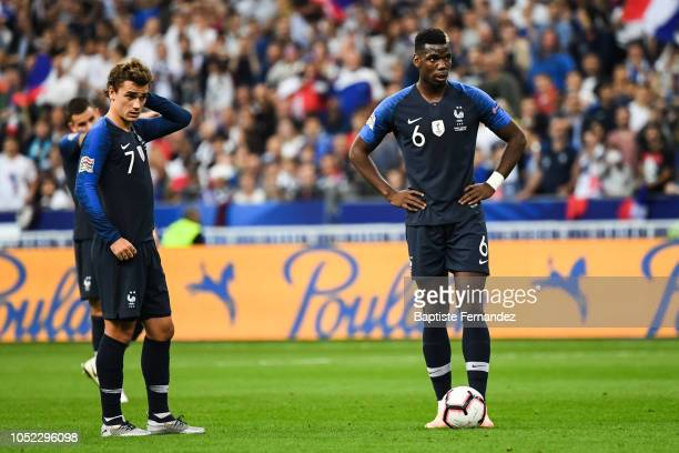 Antoine Griezmann and Paul Pogba of France during the UEFA Nations League A group one match between France and Germany at Stade de France on October...