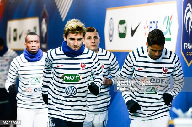 Antoine Griezmann and Raphael Varane of France during the International friendly match between France and Colombia on March 23 2018 in Paris France