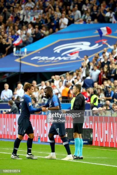 Antoine Griezmann and Tanguy Ndombele of France during the Nations League match between France and Germany at Stade de France on October 16 2018 in...