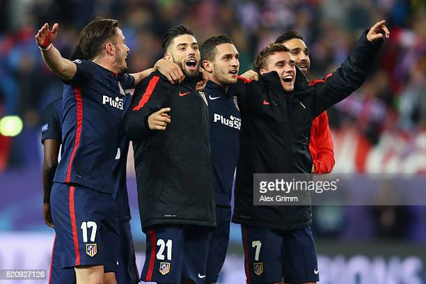 Antoine Griezmann and team mates of Atletico celebrate after the UEFA Champions League Quarter Final Second Leg match between Club Atletico de Madrid...