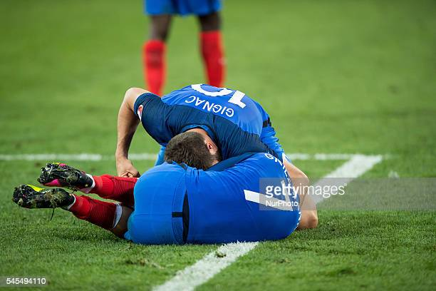 Antoine Griezmann AndrePierre Gignac during the UEFA EURO semi final match between Germany and France at Stade Velodrome on July 7 2016 in Marseille...