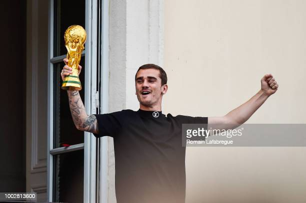 Antoine Griezmann celebrates France victory in World Cup in his hometown on July 20 2018 in Macon France