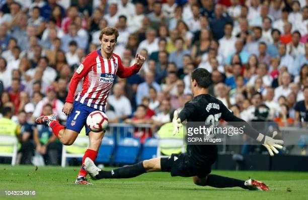 Antoine Griezmann during the La Liga match between Real Madrid and Club Atletico de Madrid at Estadio Santiago Bernabéu in Madrid, Spain .