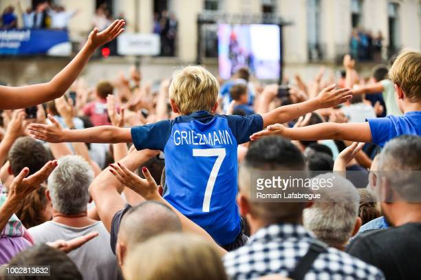 Antoine Griezmann fan's celebrate France victory in World Cup in his hometown on July 20 2018 in Macon France