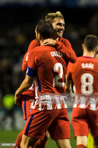 07 Antoine Griezmann from France of Atletico de Madrid celebrating his goal with 02 Roberto Diego Godin from Uruguay of Atletico de Madrid and his...