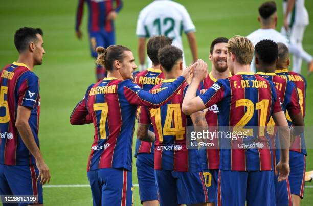 Antoine Griezmann goal celebration during the Joan Gamper Trophy match between FC Barcelona and Elche CF played at the Camp Nou Stadium on 19th...