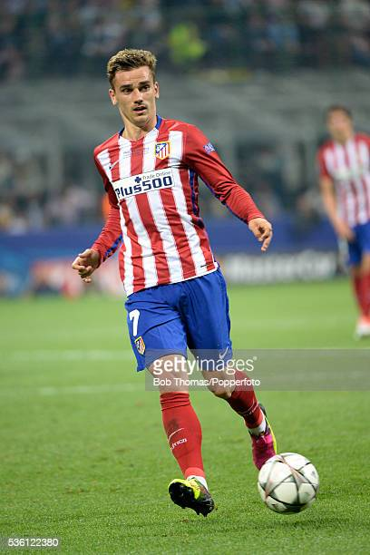 Antoine Griezmann in action for Atletico Madrid during the UEFA Champions League Final match between Real Madrid and Club Atletico de Madrid at...