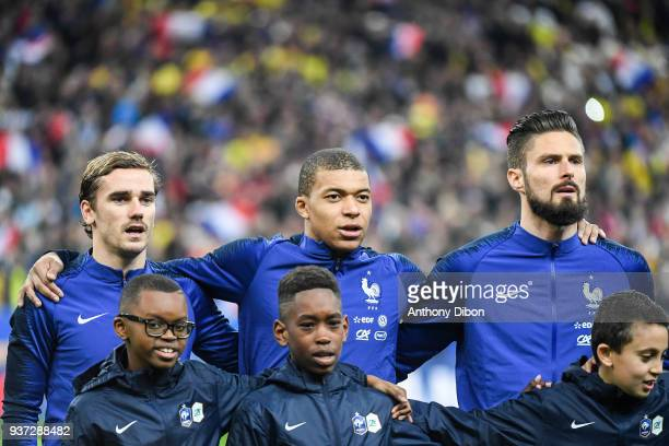 ¿Cuánto mide Kylian Mbappé? - Altura - Real height Antoine-griezmann-kylian-mbappe-olivier-giroud-of-france-during-the-picture-id937288482?s=612x612
