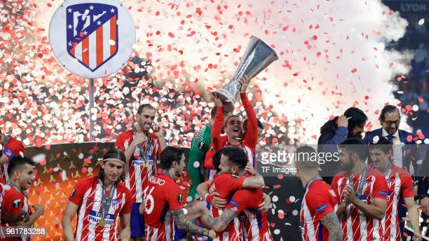 Antoine Griezmann lifts the Trophy of Atletico Madrid celebrates after winning the UEFA Europa League Final between Olympique de Marseille and Club...