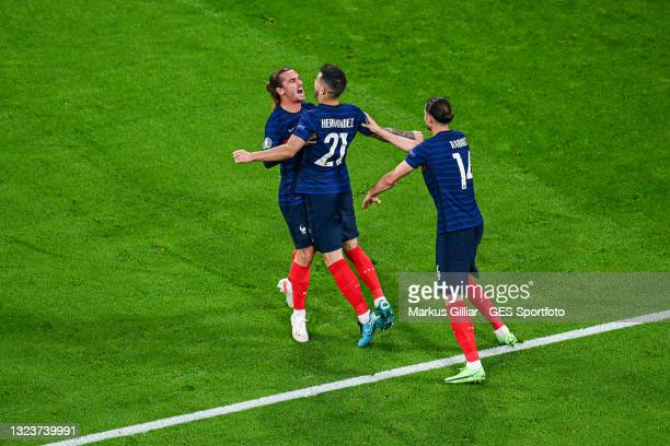 Antoine Griezmann , Lucas Hernandez and Adrien Rabiot of France celebrate their team's first goal during the UEFA Euro 2020 Championship Group F...